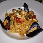 Amazing Seafood spaghetti. All sorts of fish and clams are in. Juicy and has lots of flavor.