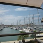 View of the marina from our table