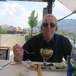 Enjoying a very juicy prawn cocktail