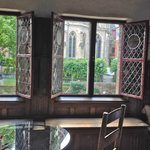 Original stained glass windows/cathedral garden view