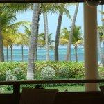 vista para o mar do restaurante