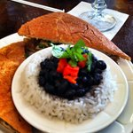Pulled pork with black beans and rice, ask for the special hot sauce, yum
