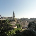 St Emilion: the hotel is under the church steeple