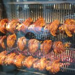grilling the hocks on the spit