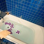 Relax in a jetted tub.