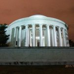 the Jefferson monument at night.