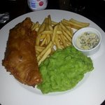 Fish, chips, mushy peas & homemade tartar sauce.