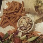 Pulled pork wrap with sweet potato fries