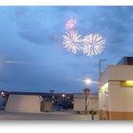 Fireworks over hotel and adjacent gas station