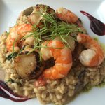 Scallop and king prawn risotto. Excellent!