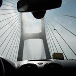 Vasco da Gama Bridge- morning, driving through the fog the longest bridge in Europe,just amazing