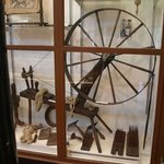 Part of a small display of spinning wheels