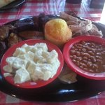 Rib Tips, Pulled Pork, Cornbread, Potato Salad, and Beans