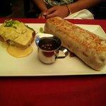 Burrito with side of cornbread