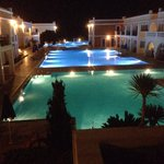 Night time view of pools