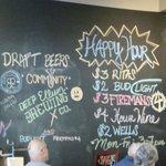 Drink menu on wall