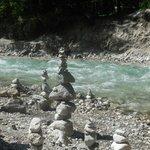 artistic piles of river rocks.