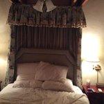 Loft bedroom - suite 304.  Dusty/musty bed curtain