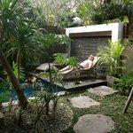 Pool set in lovely garden courtyard