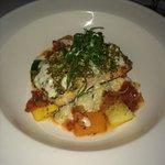 pistachio salmon at private dinner-hubby's fav!