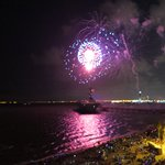 Fireworks over USS Lexington and CCTX