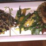 Seitan with blueberry-teriyaki sauce, pilaf and veggies