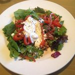 Warm Goat Cheese Salad with Pecans and Red Peppers