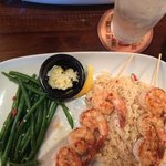 Shrimp with rice and a side of green beans
