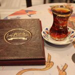 A traditional glass of Turkish tea at Hafiz Mustafa 1864.