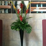 Tropical floral arrangement int the lobby