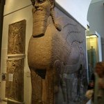 Half human half bull in Egyptian section--sawed into pieces to bring to the museum