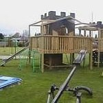 Kids playground and large lawn area is well used
