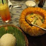 Main course (seafood inside a pumpkin)