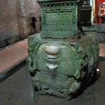 Upside down Medusa head used as a base for one of the columns in the Basilica Cistern