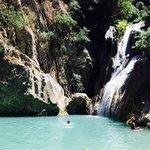Polylimnio lake and waterfalls