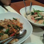 Vegetables in green curry and shrimps in black curry