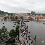The view down the crowded Charles Bridge