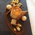 Crème caramel - burnt caramel sphere, malt gelato, biscuit, popcorn, fudge