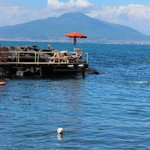 View of jetty over looking Bay of Naples