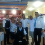 lovely photo with the staff and boss at heavens kitchen