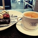 Chocolate mud cake and a long black coffee