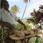 Zerelda serving warm fresh bread at lunch!