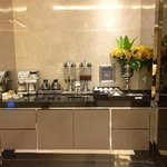 Lobby complimentary welcome drink corner for guests - Tea, Coffee, Thai Herbal Juice