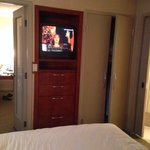 I can't see the TV well enough from the bed. I haven't seen a 21 inch tube television in a hotel