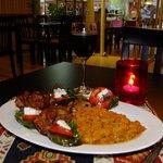 House Khaviar with Grilled Spare Ribs and aubargine Salad