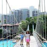 The bridge over the pool