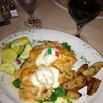 This is my dinner, Chicken Fratello; very nicely cooked and well-presented