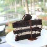 Oreo Ice Cream Cake: buttermilk fudge cake, layered crushed Oreo ice cream,