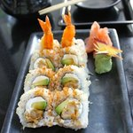 Shrimp Tempura Roll tempura crunch outside with cream cheese, avocado and shrimp tempura inside