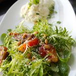 Burrata and Frisée: fresh Burrata mozzarella, candied pumpkin seeds & baby beets